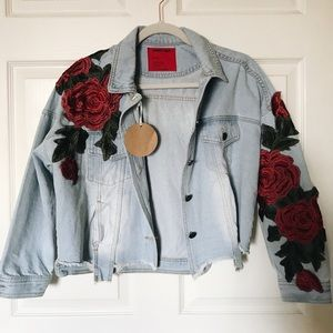Rose Patch Denim Jacket
